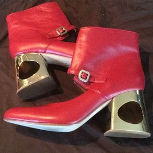 Marni Red Lambskin Leather Booties Gold Heels New